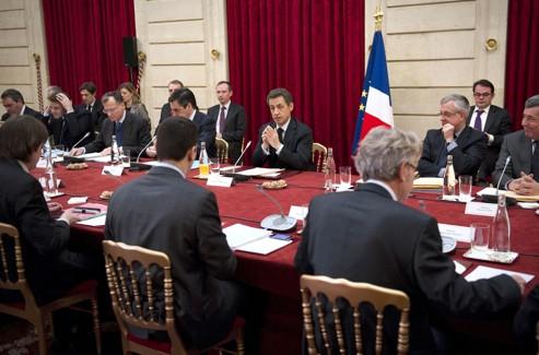 Sommet social à l'Élysée, le 18 janvier 2012.