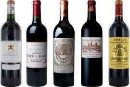 Sélection de bouteilles de vin.