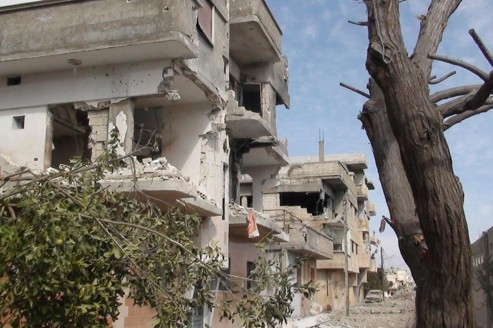 Le quartier résidentiel de Baba Amr , à Homs, semble être la cible des roquettes de Damas.