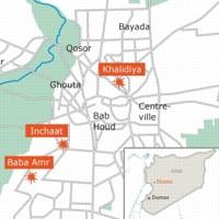 Le plan de Homs, ville considérée comme la «capitale» de la révolution syrienne.