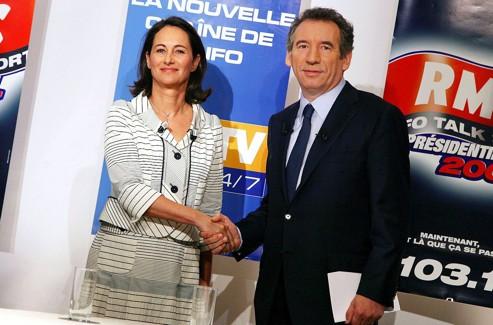 François Bayrou avec Ségolène Royal en 2007, après un débat télévisé.