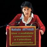 Nathalie Arthaud le 15 février à Clermont-Ferrand.