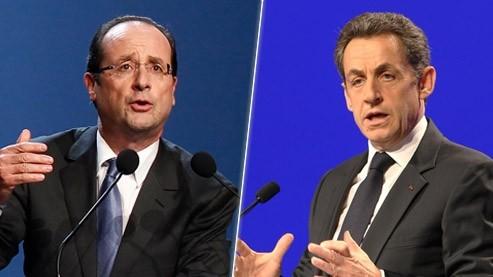 François Hollande et Nicolas Sarkozy, tous deux en meeting. Crédits photo: REUTERS et AP.