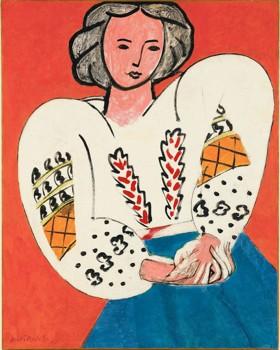 Proche du «Rêve», «La Blouse roumaine», 1940, révèle les avancées de l'artiste, qui creuse les problèmes de la peinture à la recherche de son propre langage. Matisse, c'est aussi cela : la quête continue d'une harmonie d'ensemble. (©SUCCESSION H.MATISSE. PHOTO : MUSÉE NATIONAL D'ART MODERNE/CENTRE DE CRÉATION INDUSTRIELLE)