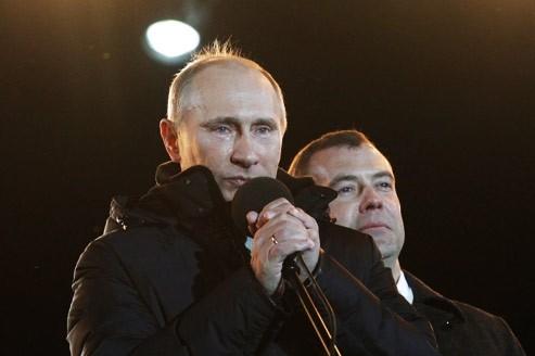 Vladimir Poutine s'est adressé à ses supporters, les larmes aux yeux.