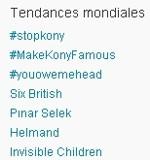 Sur Twitter mercredi, «Invisible children» a popularisé le nom de Kony.