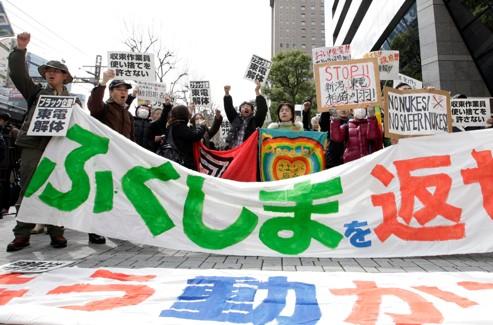 Des opposants au nucléaire, à Tokyo.