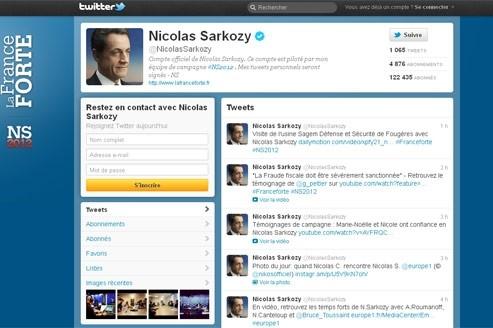 La page d'accueil du compte Twitter de Nicolas Sarkozy.