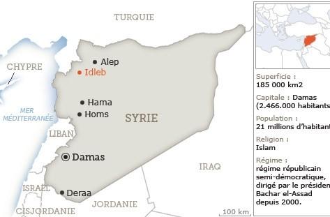 Carte de situation de la Syrie.