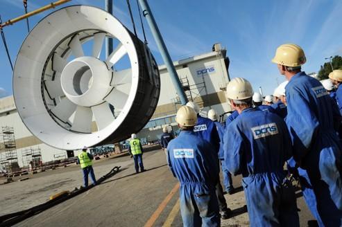 La turbine OpenHydro de 16 mètres de diamètre avant son assemblage à DCNS Brest (photo DCNS).