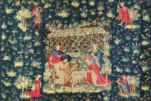 Tapisserie «Le bain du faucon», Flandres 1400-1415, chez Neuse