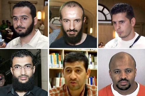 Convertis à l'islam radical, ces Français ont quitté leur famille et leurs proches et sont partis combattre aux côtés des talibans. Arrêtés dans les montagnes afghanes ou au Pakistan, ils seront tous transférés et détenus de longues années dans la prison de Guantanamo pour fait de terrorisme. De gauche à droite et de haut en bas: Imad Achab Kanouni, Redouane Khalid, Nizar Sassi, Khaled Ben Mustapha, Brahim Yadel. En dernier, Zacarias Moussaoui, qui devait prendre part aux attentats du 11-Septembre, mais sera arrêté quelques mois avant. Crédits photo: AFP/DR.