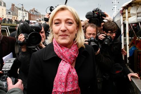 Marine Le Pen, mercredi 4 avril, au Tréport (Seine-Maritime).