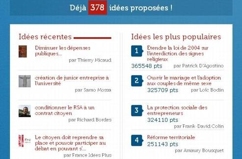Capture d'écran de l'application «Vos idées pour la France forte»