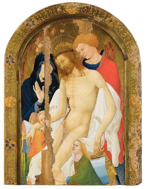 «Ce <i>christ de pitié soutenu par saint Jean et par deux anges»</i>, de Jean Malouel, a été découvert en 1985, alors couvert en partie d'une peinture verdâtre.