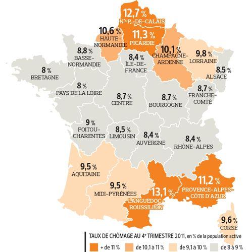 Les taux de chômage varient de 1 à 4 en France