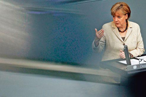 Angela Merkel au Bundestag, jeudi à Berlin.