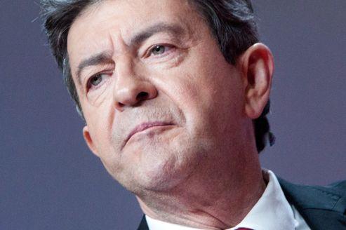 Jean-Luc Mélenchon, lors d'un meeting au Parc des expositions à Paris, le 19 avril.