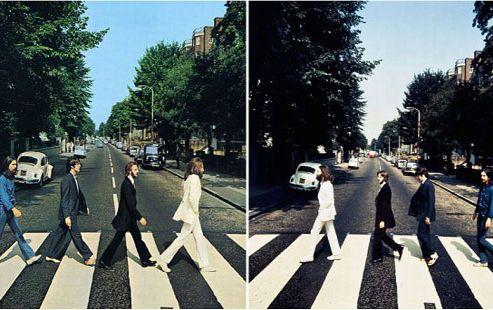 La célèbre photo qui figure sur l'album <i>Abbey Road </i>(gauche) et le cliché inédit (droite).