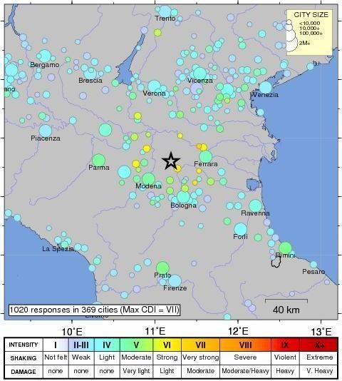 Epicentre et ressenti de la secousse - carte de l'USGS établie à partir des témoignages des habitants.