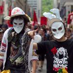 Deux manifestants, mardi dernier.