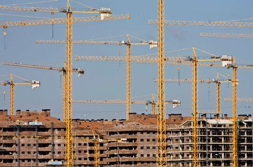 Un chantier immobilier à Sesena, dans le centre du pays, en 2008. L'Espagne a trop construit alors même que les prix ont explosé de 200% entre 1997 à 2007.