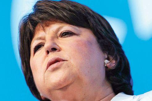Martine Aubry, la première secrétaire du PS, lors d'un meeting, samedi, à Nantes.