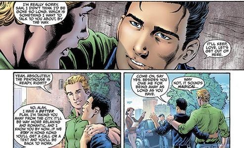 Green Lantern et son compagnon dans un extrait des planches américaines de