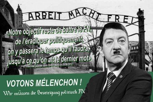 Ce tract, «le plus répugnant» selon Jean-Luc Mélenchon, le présente en Adolf Hitler. Il a été diffusé sur les réseaux sociaux. DR.