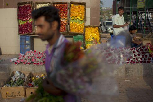 Un marché aux fleurs dans la banlieue de New Delhi. Le PIB indien a enregistré au premier trimestre sa plus faible augmentation en neuf ans à 5,3%.