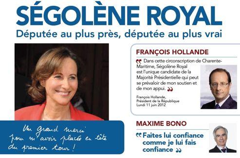 Le tract de Ségolène Royal pour le second tour des législatives à La Rochelle.