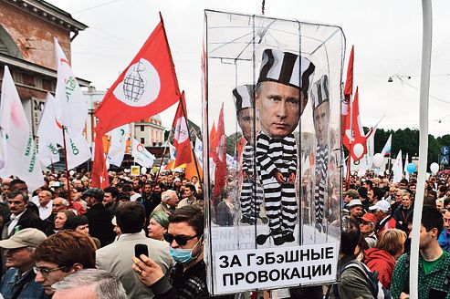 La manifestation d'opposants à Poutine, mardi à Moscou, était la première depuis l'inauguration du chef du Kremlin, le 7mai dernier