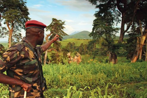 John, un major du M23 montre l'étendue du territoire contrôlé par les rebelles depuis Kavumu hill au North-Kivu.
