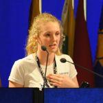 Brittany Trilford, lycéenne néo-zélandaise de 17 ans, à la tribune, mercredi.