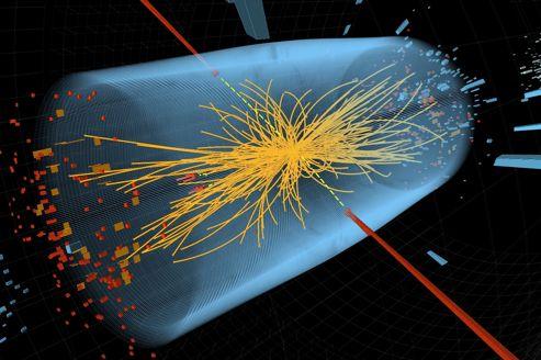 Simulation d'une collision dans le LHC avec apparition d'un boson se désintégrant en deux photons (lignes rouges). (crédits: CMS)