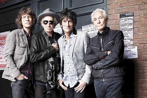 Mick Jagger, Keith Richards, Ronnie Wood and Charlie Watts le 11 juillet 2012 devant <i>The Marquee Club </i>à Londres. (Handout /REUTERS)