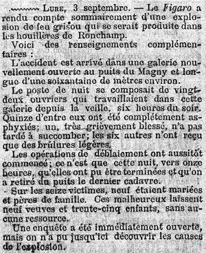 Extrait du <i>Figaro</i> du 5 septembre 1879.