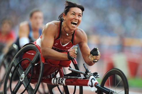 Chantal Petitclerc, du Canada, aux Jeux paralympiques de Pékin en 2008.