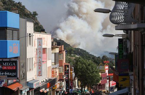 L'incendie vue depuis Le Perthus.