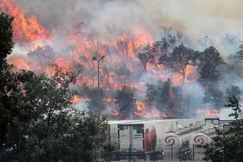 <strong>Embrasée.</strong>Trois cents pompiers et six bombardiers d'eau français luttaient lundi avec leurs homologues espagnols contre le gigantesque incendie qui fait rage en Catalogne espagnole, à la frontière entre les deux pays. Ce gigantesque sinistre a déjà ravagé 13.000 hectares en Catalogne espagnole et tué quatre personnes, toutes françaises. L'incendie continue de faire rage en Espagne, mais est maîtrisé en France où il ne s'est pas étendu au-delà de 20 hectares. Cependant les pompiers des Pyrénées-Orientales maintiennent une surveillance «active et permanente».