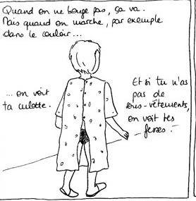 Extrait de «Striptease», sur le blog «Sous ma blouse». Illustration Gélule.