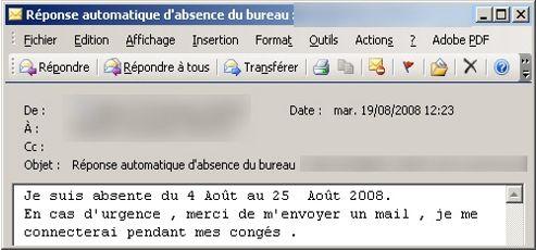 Vos mails d 39 absence r v lent quel employ vous tes - Message d absence de bureau ...