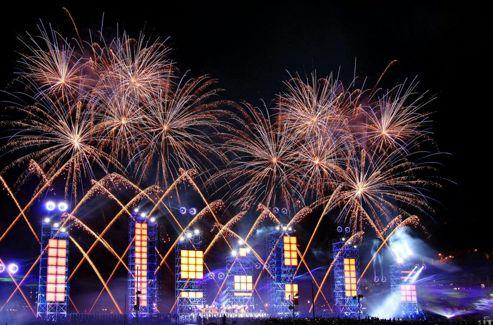 Le concert pyrotechnique du concert de Jean-Michel jarre, organisé à Monaco le 2 juillet 2011, pour le matriage du prince Albert de Monaco et de Charlène Wittstock.