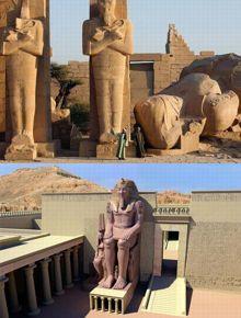Le «Soleil des princes». En haut à droite, ce qu'il en reste. Et ce que la statue était, par reconsitution numérique, ci-dessus.