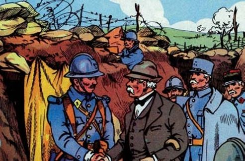 «Clémenceau va dans les tranchées voir les soldats». Illustration du manuel scolaire de Bernard et Redon