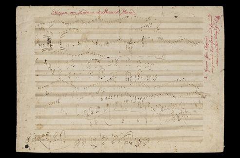 Feuillet autographe manuscrit d'exercices et d'ébauches de composition pour piano de Beethoven.