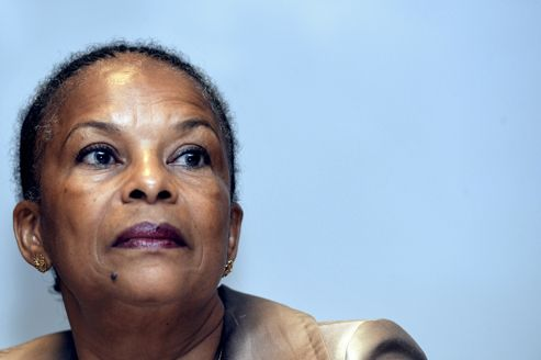 Christiane Taubira lors de sa visite à l'École nationale de magistrature de Bordeaux, peu avant son «coup de fatigue».