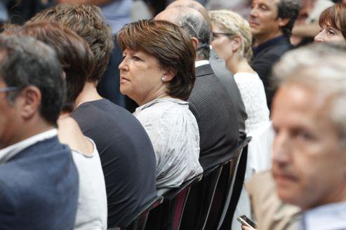 Martine Aubry lors de l'université d'été du Parti socialiste, à La Rochelle. La première secrétaire du PS espère laisser le parti «entre de bonnes mains et sur de bons rails».