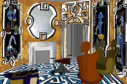 Boudoir de voyage imaginé par Vincent Darré, chez Artcurial.