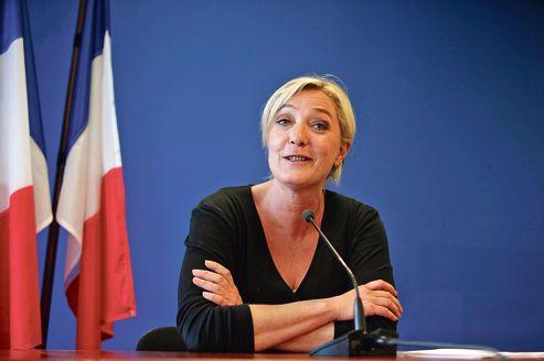 Marine Le Pen, le 11 juin dernier, au sortir du premier tour des législatives, à Nanterre.
